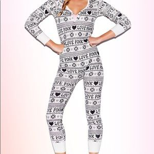 Vs Pink onesie with Butt Flap HTF LIKE NEW